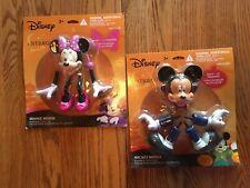 1 PAIR DISNEY Mickey & Minnie  Mouse Vampire Plastic Pumpkin Push Ins Halloween