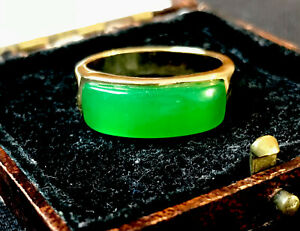 Vintage Style Jewellery Natural Jade Ring 18K Gold Plated