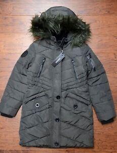 Diesel Kids Girl's Junior Faux Fur Olive Insulated Parka Coat Winter Jacket 10