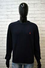 Maglione Blu Uomo RALPH LAUREN Taglia 2XL Pullover Cardigan Cotone Sweater Man