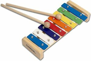 CASCHA Colourful Wooden Glockenspiel, Xylophone Toy for Children with 2 Mallets