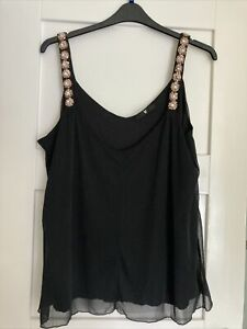 Ladies Black Very Top New Without Tags Size 22 Pretty Beaded Flower Straps