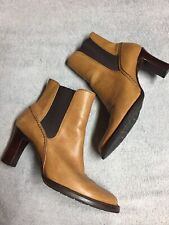Cole Haan Womens Tan Brown Leather Heels Stretch Boots Casual Size Sz 8 B