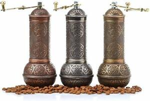 Copper Coffee Grinder Manual Coffee, Antique Grinder Metal with Hand Crank