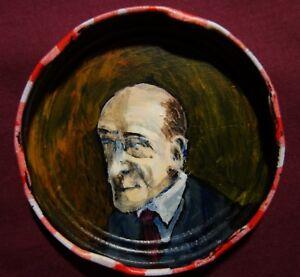 ALGERNON BLACKWOOD Jam Jar Lid Portrait, Literary, Outsider Art by PETER ORR