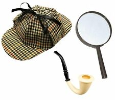 SHERLOCK HOLMES FANCY DRESS SET 3PC DEERSTALKER HAT + PIPE + MAGNIFYING GLASS