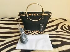 NEW DUNE BLACK LEOPARD ANIMAL PRINT PONY SKIN BAG WITH DUST COVER