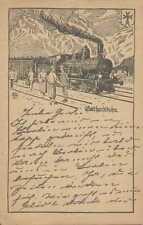 Gotthardtbahn, Wohlfahrtspostkarte, Deutsche Bahnhofsmission, Eisenbahn, Schweiz