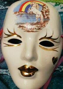 Porcelain and Ceramic Mask from New Orleans Mama and Baby Unicorns Gold Plating