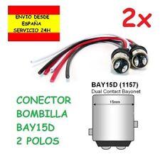 2x Conector Bombilla 1157 BAY15D P21/5W 2 POLOS POSICION y FRENO TRASERA COCHE