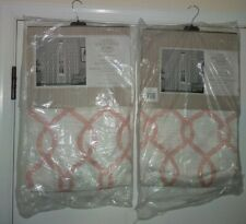 "Exclusive Home Grommet Curtain Panels  Kochi -54""x 81"" Pink White 2 sets of 2"