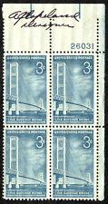 USA Postage 3c Stamps Corner Block #1109 Mackinac Bridge MNH OG Designer SIGNED