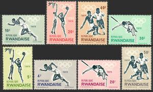 Rwanda 76-83, MNH. Olympics, Tokyo. Soccer, Basketball, High jump, Runner, 1964