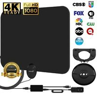 [120 MILES] Fosmon BLACK Indoor ATSC 3.0 Digital TV HDTV Flat Antenna UHF/VHF 4K