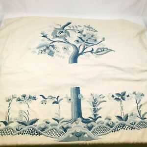 """Vintage Crewel Upholstery Fabric Embroidery Work - 1PC @ 54"""" x 175"""" Floral Trees"""