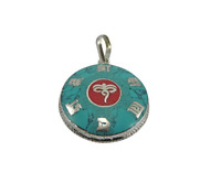 Tibetan Buddhist Turquoise Coral Om Mani Buddha Eye Pendant Necklace from Nepal
