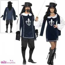 Mens Ladies Musketeer Costumes Adult Couples Medieval History Fancy Dress Outfit