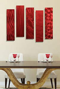 Metal Art Abstract Hanging Wall Sculpture Modern Home Decor Jon Allen 5pc Red
