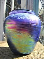 Tom Stoenner Hand Blown Studio Art Glass Vase, Artist Signed 6 Inches