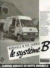 Publicité advertising 1986 Camion Camionette Fourgon Renault B 90 Turbo