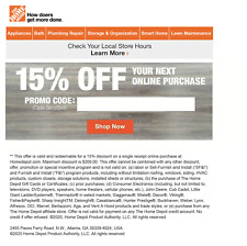 One 1X-Home Depot 15% Off Online Coupon Save up to $200 Max Fast_Sent