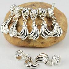 New 5PCS Silver Plated Dangle Banana Charms Loose Beads Fits European Bracelets