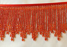 Red beaded fringe with smaller red beads held together with red seed beads  #164