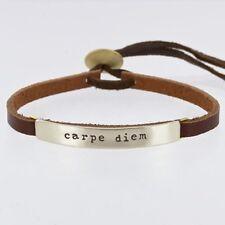 Leather Quote Bracelet Cuff Word Bracelet Carpe Diem Far Fetched Taxco