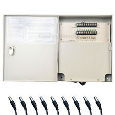 9 CH Output CCTV Security Camera Distribution Power Supply Box with Pigtails COA