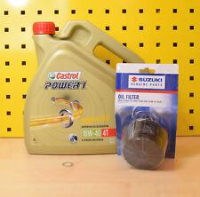 Suzuki Ölwechselset Original Ölfilter Dichtung Ölablass Castrol Power1 10w-40 4T