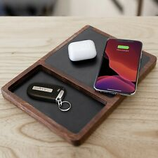 NYTSTND DUBL TRAY Multi-Device Wooden Handcrafted Wireless Charger, Black