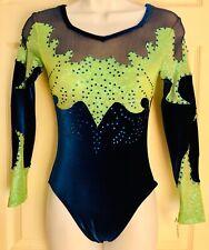 Gk LgS Competition Adult Small Royal Velvet Foil Ja Gymnastics Dance Leotard As
