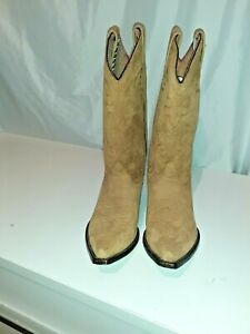 VINTAGE COWGIRL BOOTS HAND MADE SEDONA NATURAL SUEDE 5 ???SNIP TOE