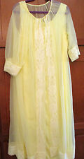 Vtg Intimate Peignoir Robe Tie Dressing Gown Yellow Sheer Nightie XXXL 3XL Sissy