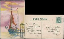 GB 1904 HAND PAINTED POSTCARD BOATS CUTTER etc RHYL