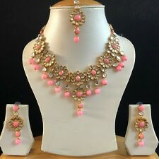 PINK GOLD KUNDAN INDIAN COSTUME JEWELLERY NECKLACE EARRINGS CRYSTAL SET NEW 078