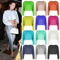 Womens Baggy Raw Edge Oversized Boxy Sweat Jumper Gym Sporty Poll Over Crop Top