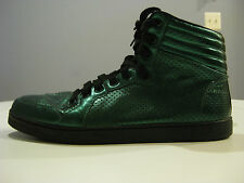 GUCCI GREEN METALLIC PERFORATED HIGH TOP SNEAKERS SIZE 8.5