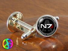 Mass Effect N7 Shirt Cufflinks Game Games Gamer Gaming Mens Wedding Jewelry Gift
