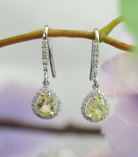 New 14K White Gold 1.48 ct Natural Lemon Quartz and Diamond Dangle Drop Earrings