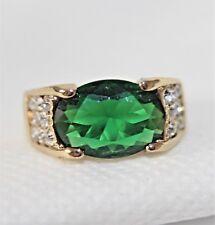 Smaragd grün Herren Damen Ring Gold 18 K GP (750) Gr. 60 / 19,1 Akzent gest. 925