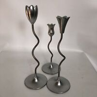 Pewter Silver tone Partylite Candle Holder Minimalistic Design Tulip Lot Of 3