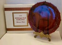 "VINTAGE AVON 10 3/4"" DINNER PLATE 1876 CAPE COD RUBY RED GLASS COLLECTION BOXED"