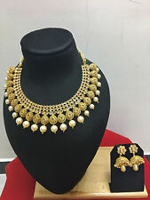 Indian Ethnic Bollywood Gold Plated Pearl Fashion Jewelry Gold Necklace Set
