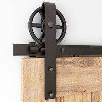 5-12FT Sliding Barn Door Hardware Kit Spoke Big Wheel Closet Steel Track Kit