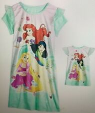 Girls Disney Princesses Ariel, Mulan & Rapunzel Nightgown with Doll Gown Size 4