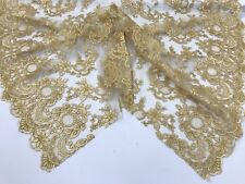 Magnificent Lace fabric - By The Yard Gold Flower Mesh Embroidered  Wedding