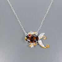 Cognac Quartz Necklace 925 Sterling Silver Handmade Length 19/N03769
