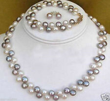2 rows Natural Black White pearl necklace bracelet earrings 17''7.5''