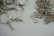 DIY 25mm 100 x Keychain +100 x Split Ring Silver Keyring Short Chain Key Rings